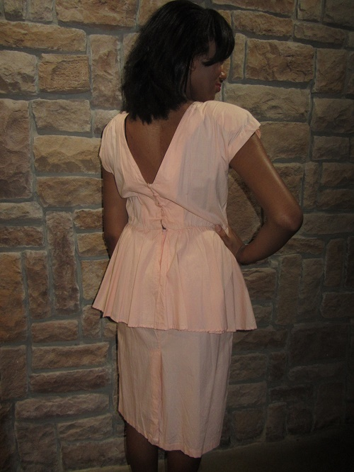 peach party dress back view
