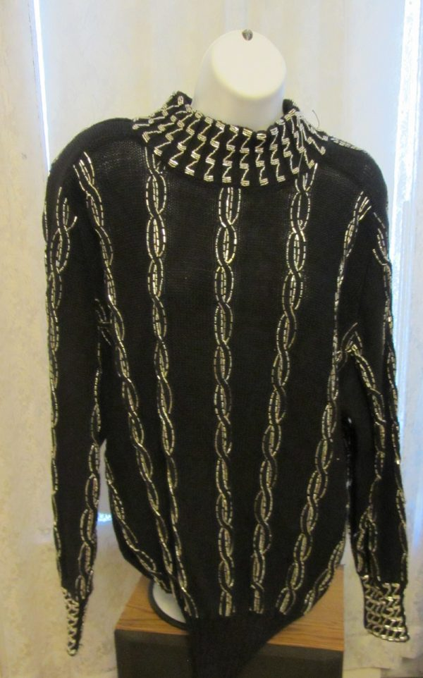 Bonnie Boerer sweaters: Silver beads