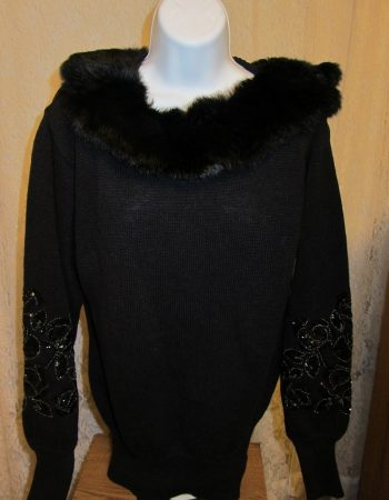Bonnie Boerer sweaters-fake fur collar with beaded sleeves
