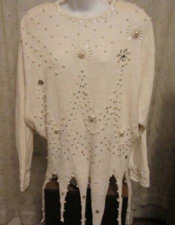 Bonnie Boerer sweaters: white fringe