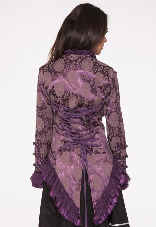 purple broacde jacket back view