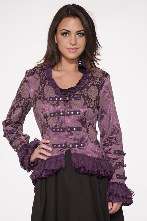 purple brocade jacket