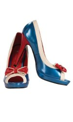 red white and blue pin up girl shoes