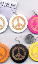 wood peace sign earrings