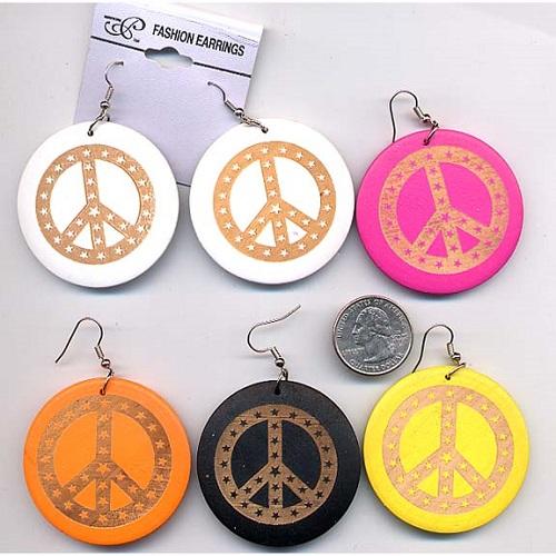 wood peace sign earrings