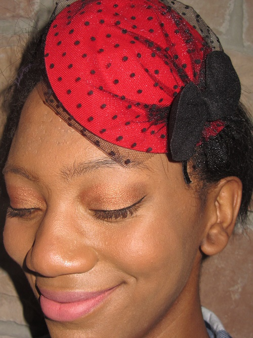 Fascinator hats Red with polka dot veil