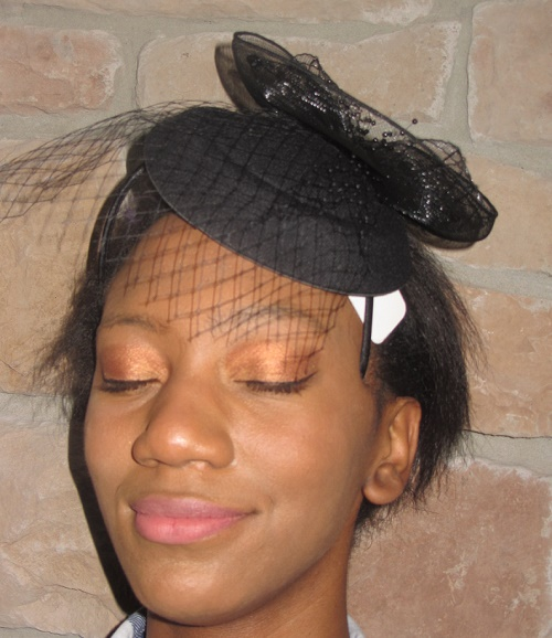 Fascinator hats black with mesh accents