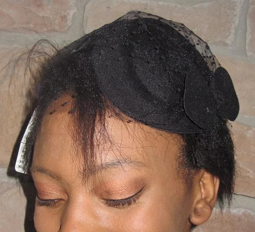 Fascinator hats Black with polka dot veil