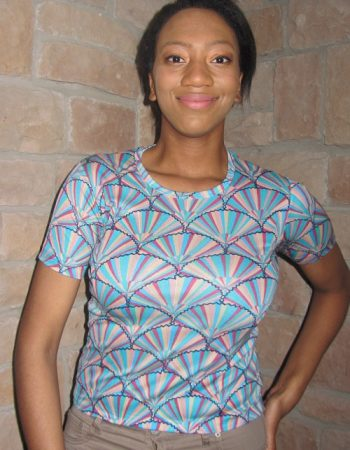 Op art designs t-shirt turquoise