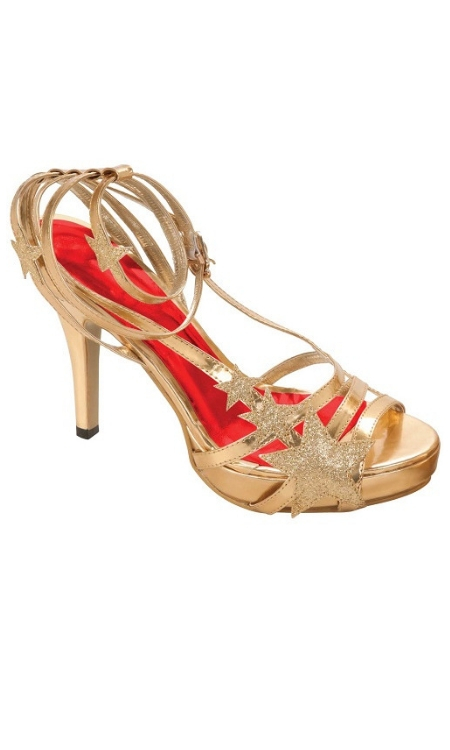 star shoes gold disco sandals