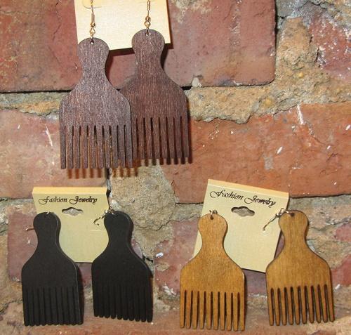 afro pick earrings