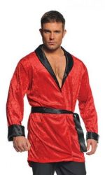 Red smoking jacket Hugh Hefer robe