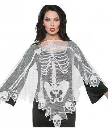 Halloween skeleton costume lace poncho