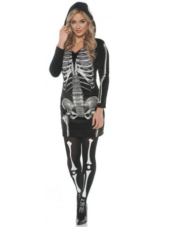 Skeleton hoodie dress with stockings