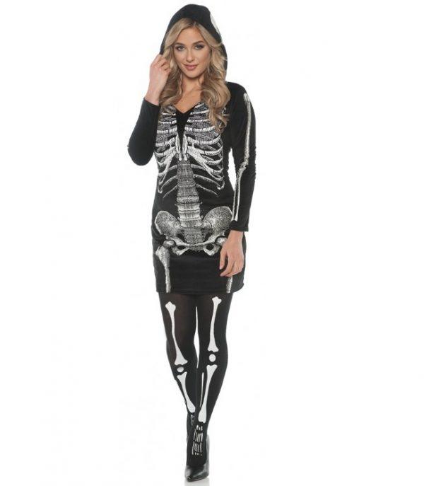 Skeleton hoodie dress with stockings