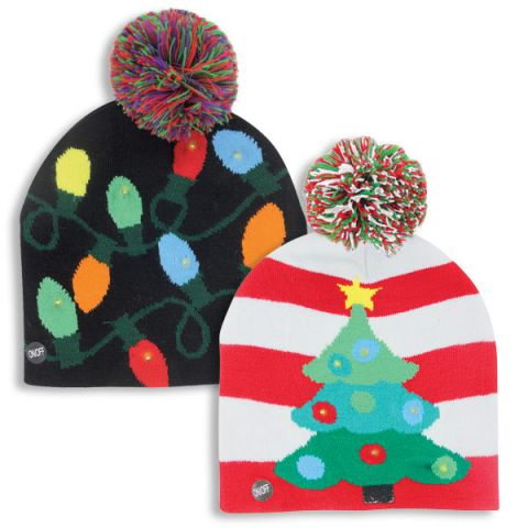 9869bcd24f3fe Light up hats blinking Christmas knit hats