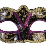 Mardi Gras masquerade masks : purple and gold