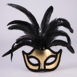 Mardi Gras masquerade masks: gold with feathers