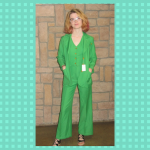 happy customers 1970s green pantsuit