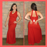 happy customers 1970s red dress