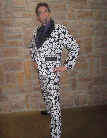 skull jacket with pants and tie