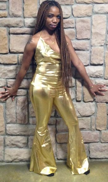 1970s disco bell bottom pants outfit