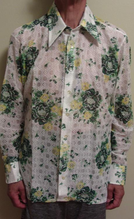 70s Floral Disco shirt Large