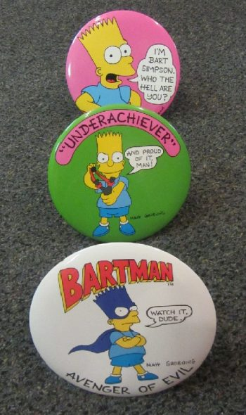 Simpsons pins Bart Simpson buttons