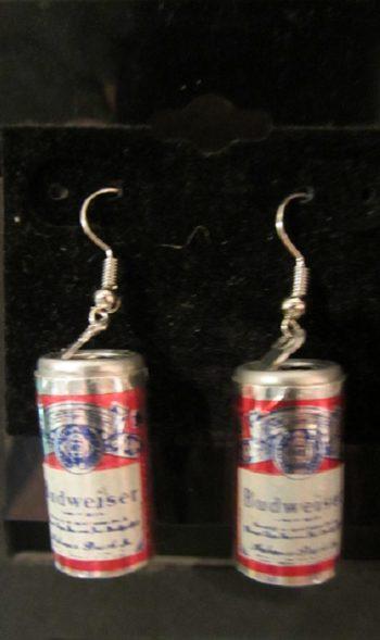 Vintage beer can earrings Budweiser
