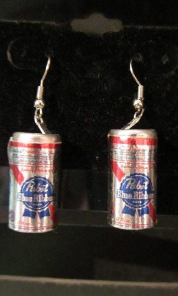 Vintage beer can earrings PBR