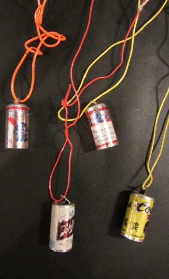 Vintage beer can necklaces on cord