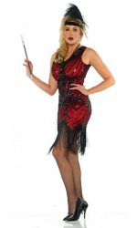 Red 1920s beaded dress Red fringed flapper dress