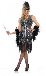 Black beaded flapper dress Fringed flapper dress