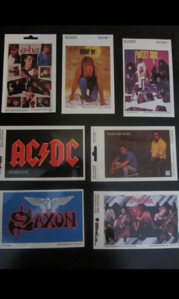 vintage rock band sticker mini 1980s music posters