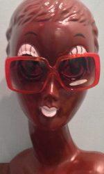 Oversized retro square sunglasses orange