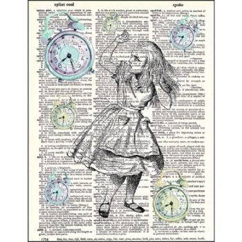 Alice in wonderland clocks dictionary print