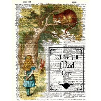 Alice in Wonderland caterpillar dictionary print