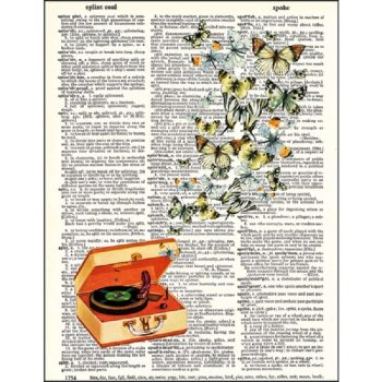 Record player with butterflies dictionary print