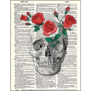Skull and roses dictionary print the punk skull