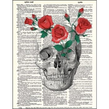 Skull and roses dictionary print
