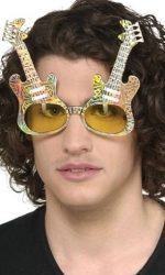 Glitzy guitar novelty sunglasses